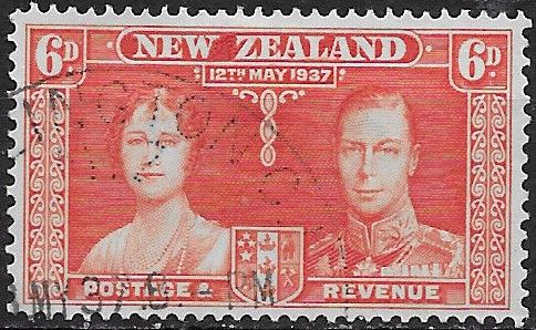 1937 NZ - SG601 GVI Coronation 6d Orange Used