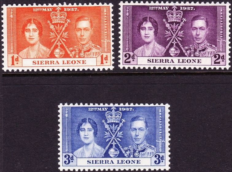 1937 Sierra Leone - SG185-87 GVI Coronation Set (3) MM