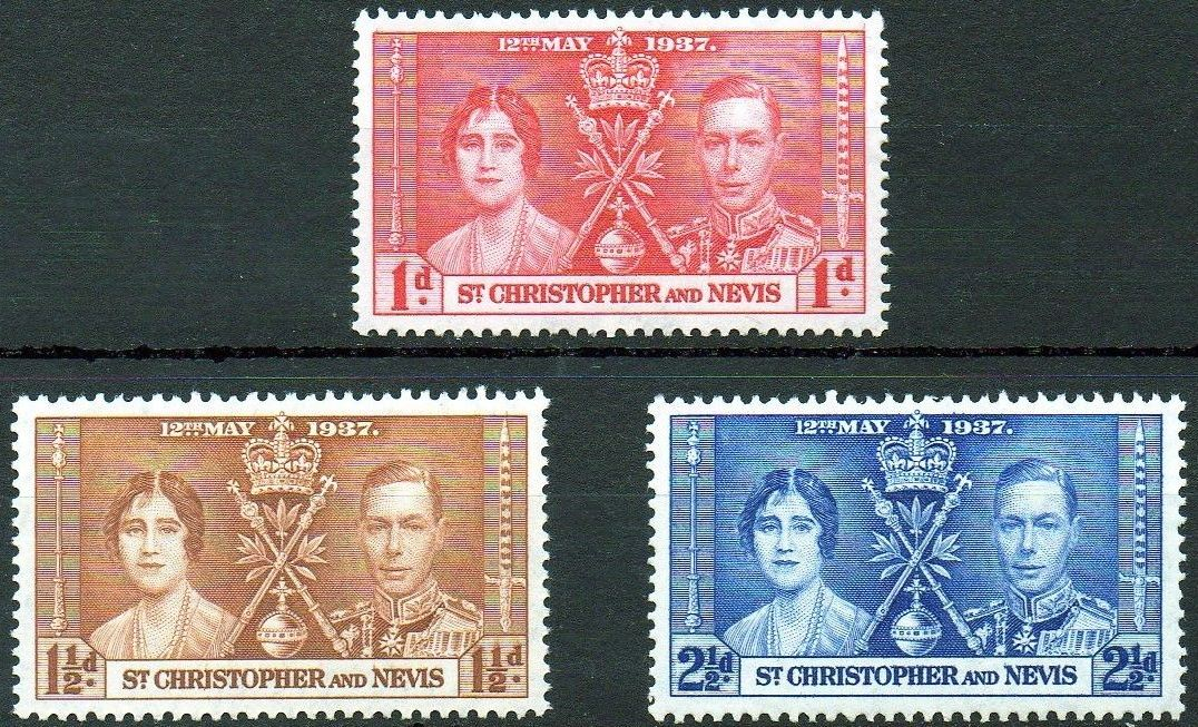 1937 St Christopher & Nevis - SG65-67 GVI Coronation Set (3) VFU