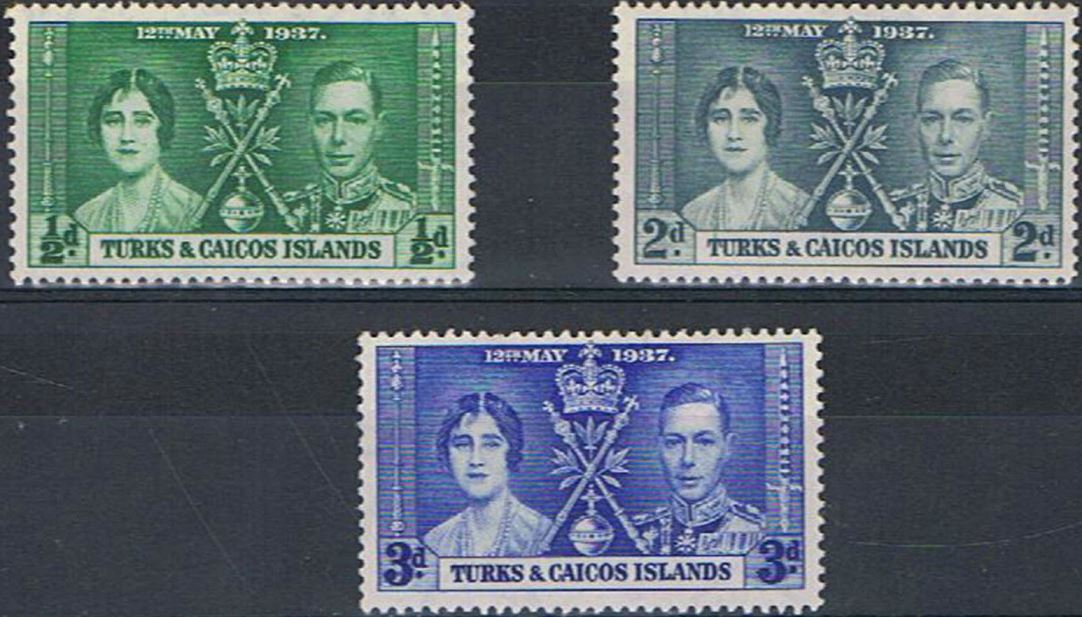 1937 Turks and Caicos - SG191-93 GVI Coronation Set (3) MM