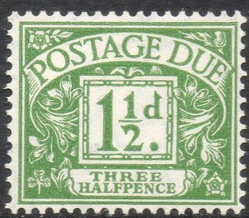 1951 GB - KVI - D37 1½d Green Postage Due Mounted Mint
