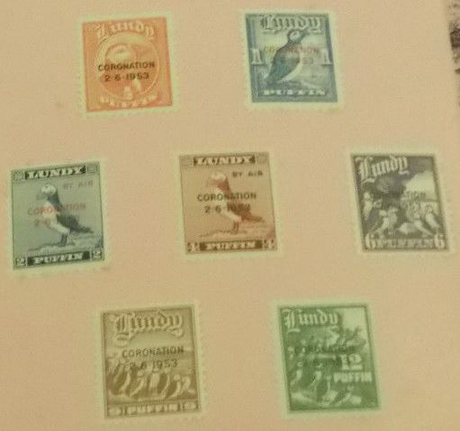 1953 - Lundy - Puffin Set with Coronation Overprint Set (7) MM