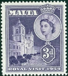 1954 MLT - SG262 QEII 3d Royal Visit Set (1) MNH