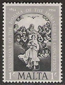 1954 MLT - SG265 QEII 1/- Immaculate Conception Dogma MNH