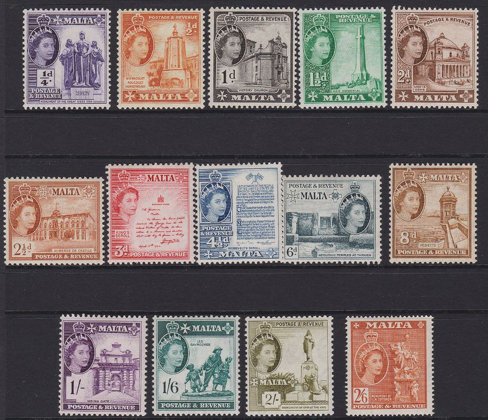 1956 MLT - SG266-79 QEII Definitive Short Set to 2/6d (14) MM