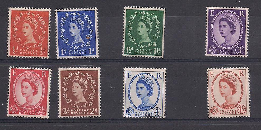 1958-65 GB - SG587-594 2nd Graphite Line Issue Set (8-2) MNH