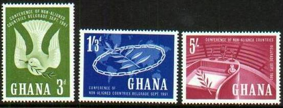 1961 GHA - Non-Aligned Nations Conference Set (3) MNH