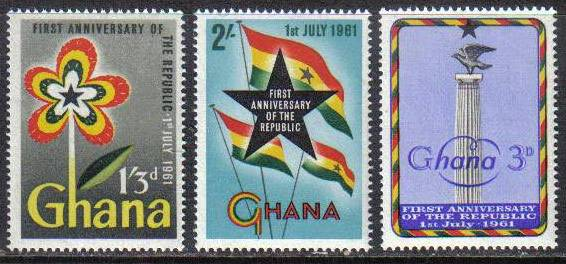 1961 GHA - Independence Anniversary Set (3) MNH