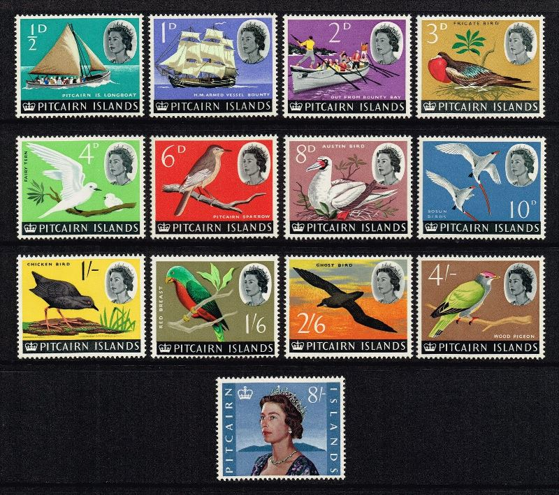 1964 PIT - SG36-48 Pitcairn Birds and Boats Set (13) MNH