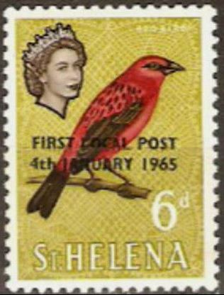 1961 - StH - SG195 6d Red Fody First Local Post Overprint MNH