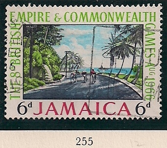 1966 JAM - SG255 - 6d 8th Commonwealth Games Used