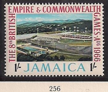 1966 JAM - SG256 - 1/- 8th Commonwealth Games MM