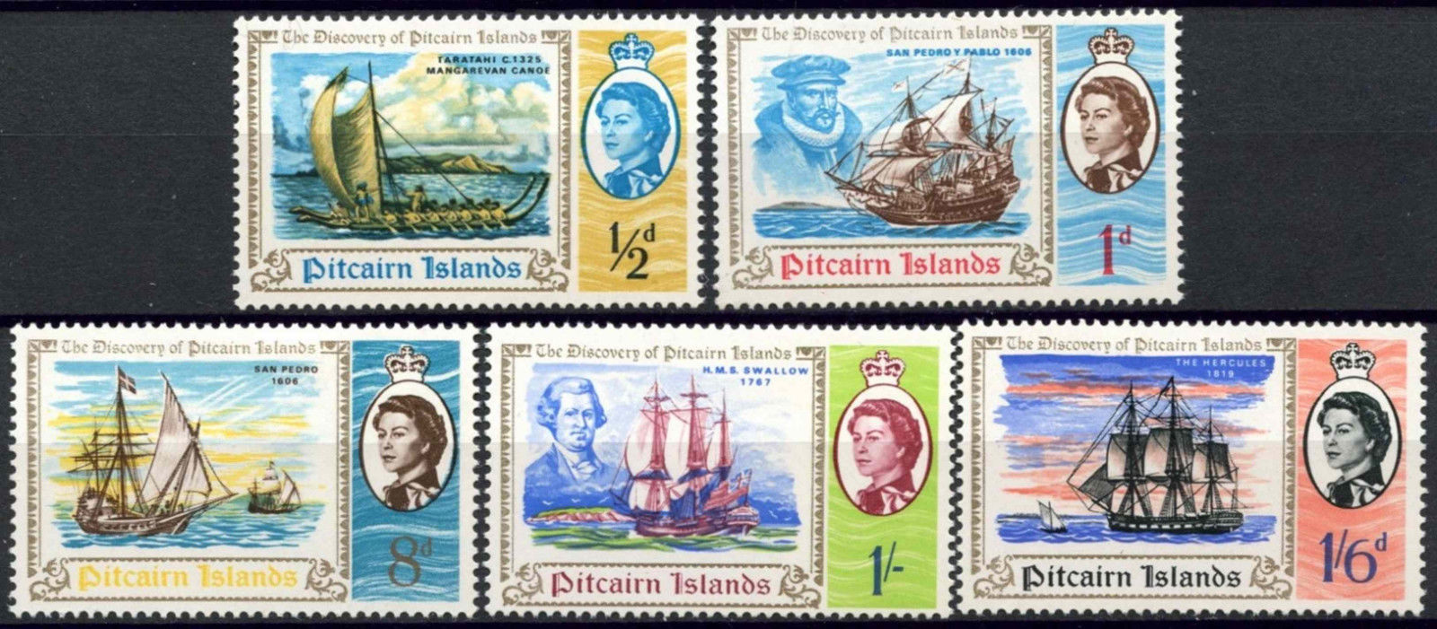 1967 PIT - SG64-68 Discovery of Pitcairn Islands Set (5) MNH