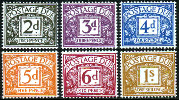 1968-69 GB - QEII - D69-74 Postage Due Complete Set (6) MNH