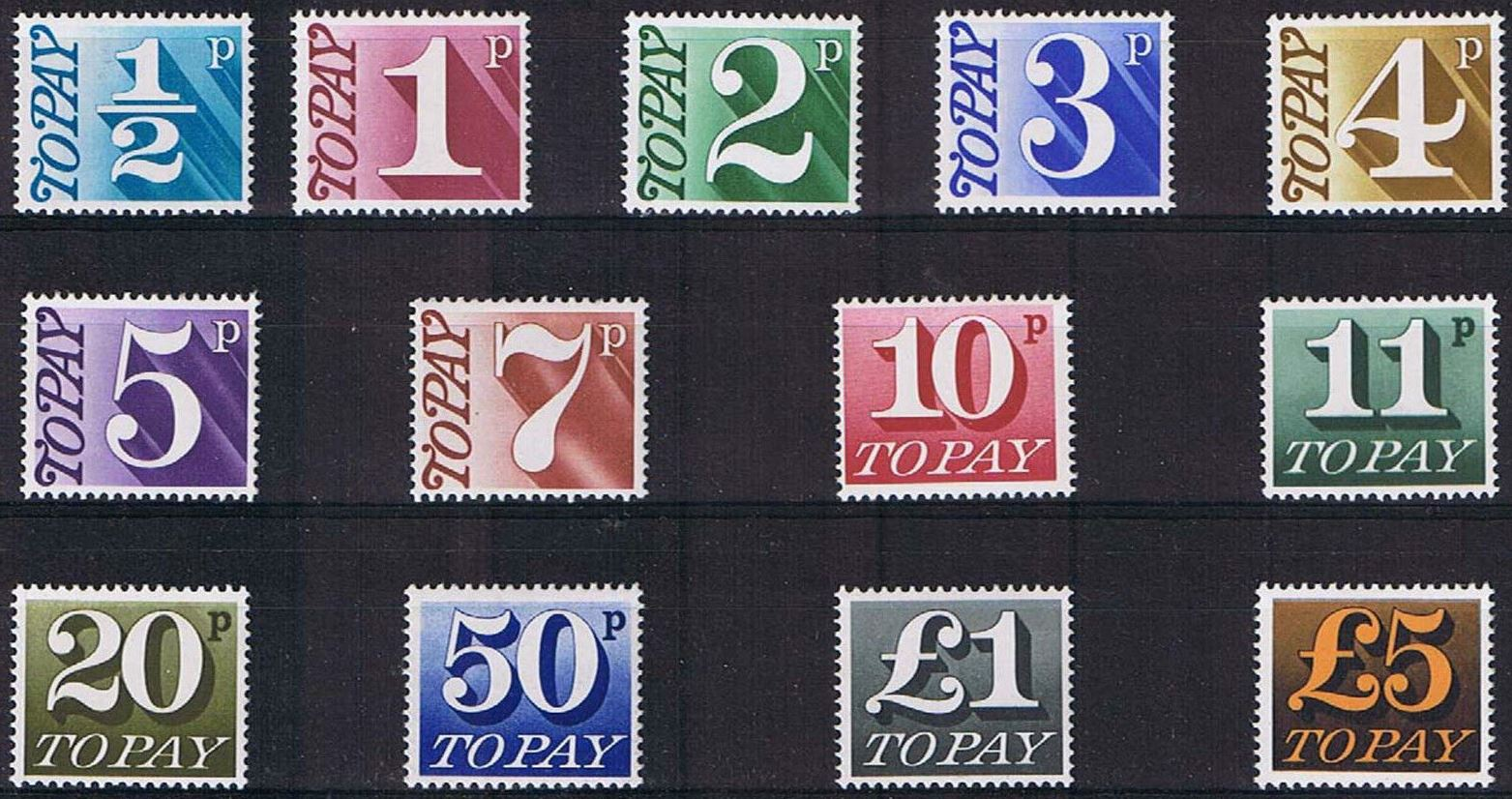 1970-75 GB - QEII - D77-D89 To Pay Complete Set (13) MNH