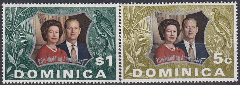 1972 Dominica SG366-67 Royal Silver Wedding Set (2) MNH
