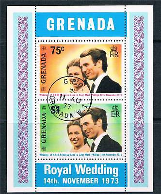 1973 Grenada - SGMS584 Princess Anne Wedding Mini Sheet VFU