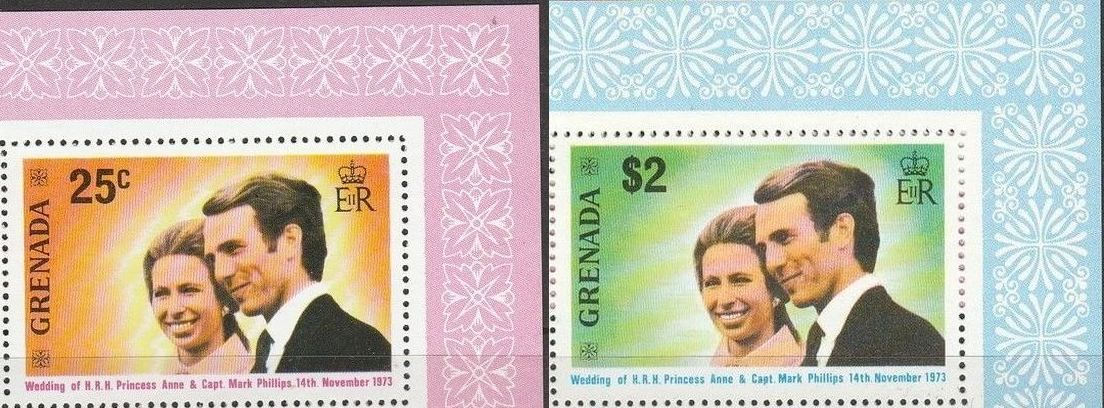 1973 Grenada - SG582-83 Princess Anne Wedding Set (2) VFU