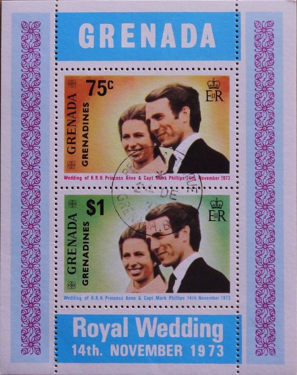 1973 Grenada-G - SGMS3 Princess Anne Wedding Mini Sheet VFU