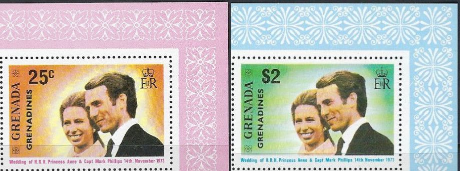 1973 Grenada-G - SG1-2 Princess Anne Wedding Set (2) VFU