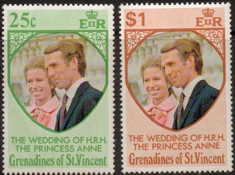 1973 St Vincent-G - SG1-2 Princess Anne Wedding Set (2) MNH