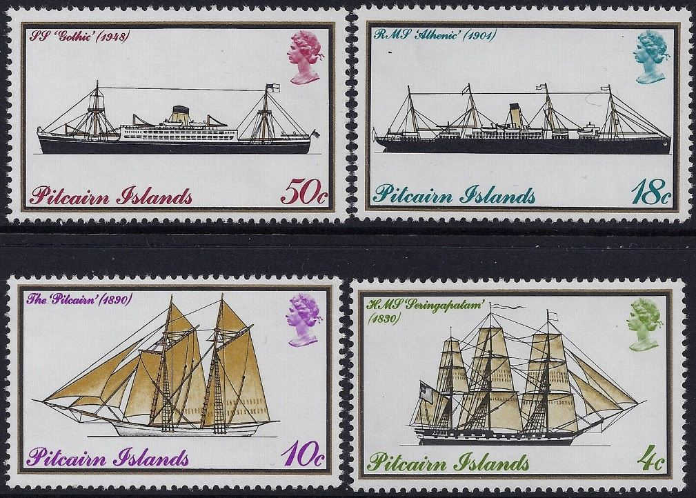 1975 PIT - SG157-60 Pitcairn Mail Boats Set (4) Cyl Marginal MNH