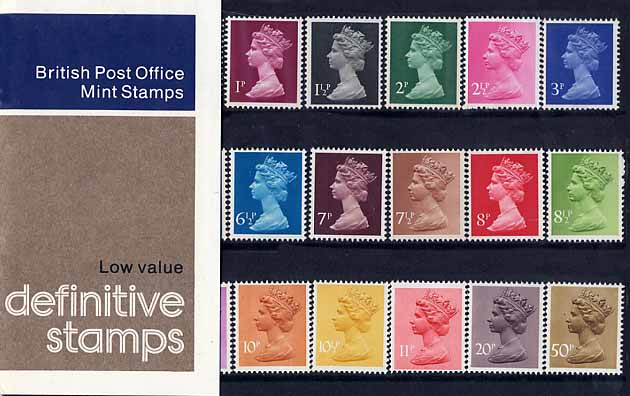 1977 GB - PP D090 - Machin Low Values (½p-50p) - Small Pres Pack