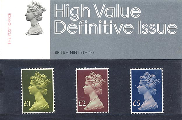 1977 GB - PP D091 - Machin High Values (£1-£5) - Small Pres Pack