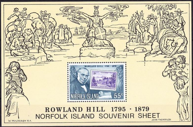 1979 NfI - SGMS228 55¢ Death Centenary of Rowland Hill SS MNH