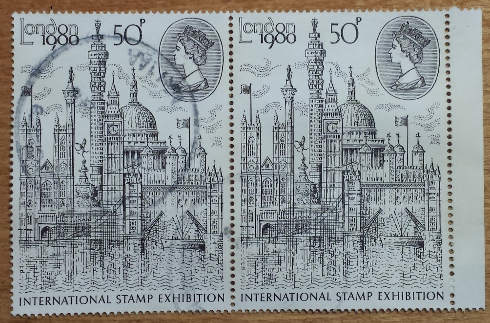 "1980 GB - ""London 1980"" International Stamp CDS Mgnl Pair VFU"