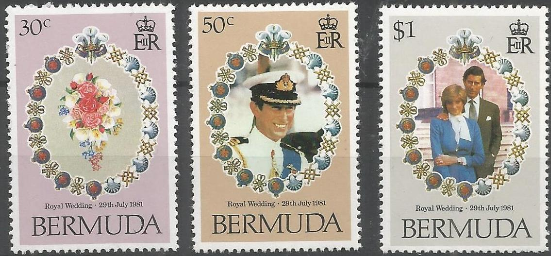 1981 Bermuda - Charles & Diana Wedding Set (3) MM