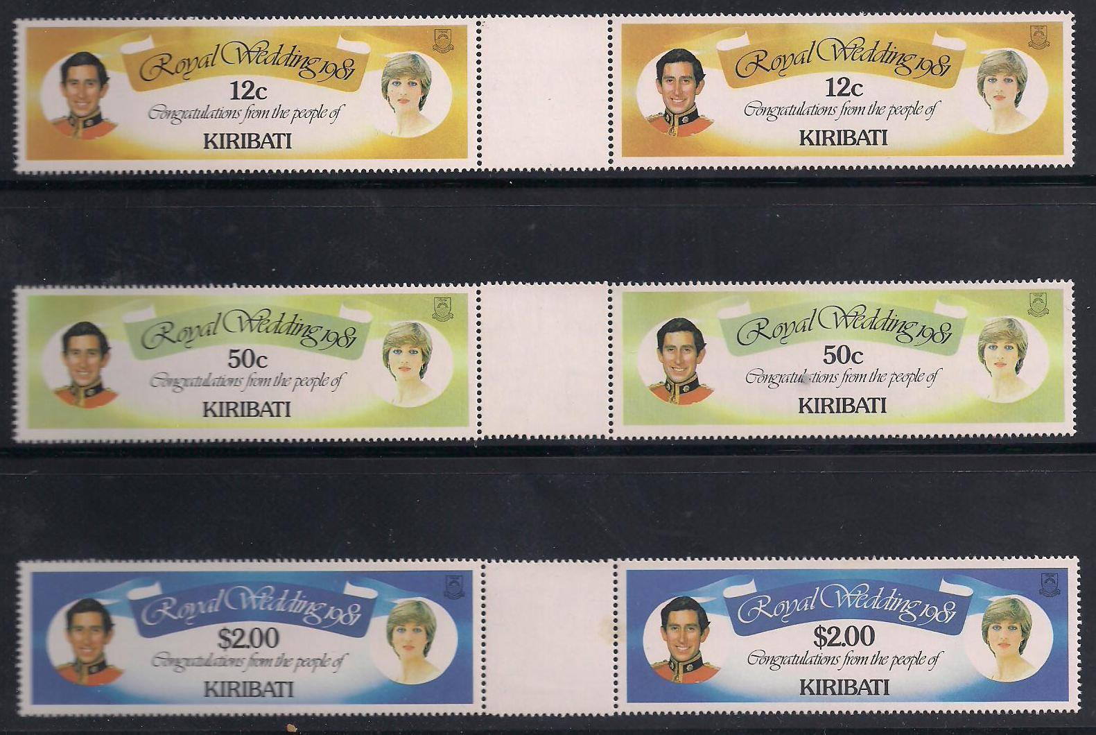 1981 KIR - Charles & Di Wedding Gutter Pr Set (6) MNH