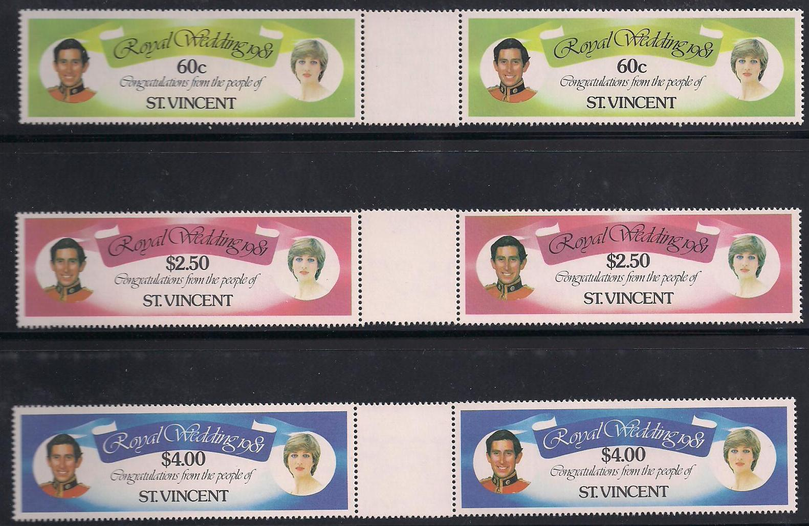 1981 St Vincent - Charles & Di Wedding Gutter Pr Set (6) MNH