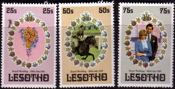 1981 Lesotho - Charles & Diana Wedding Set - IMPERF (3) MNH