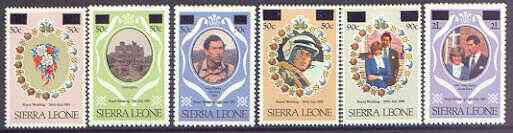 1982 Sierra Leone - Charles & Diana Set Surcharged (6) MNH
