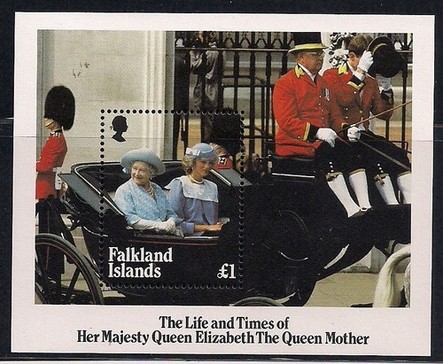 1985 FALK - SGMS509 £1 Queen Mother with Diana M/S MNH