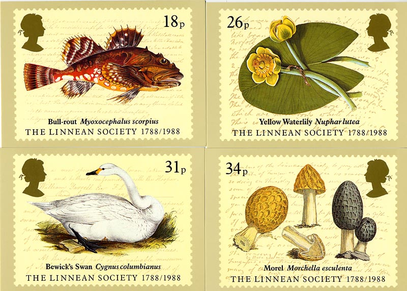 1988 GB - PHQ 107 - Bicentenary of Linnean Society - Set (4) MNH