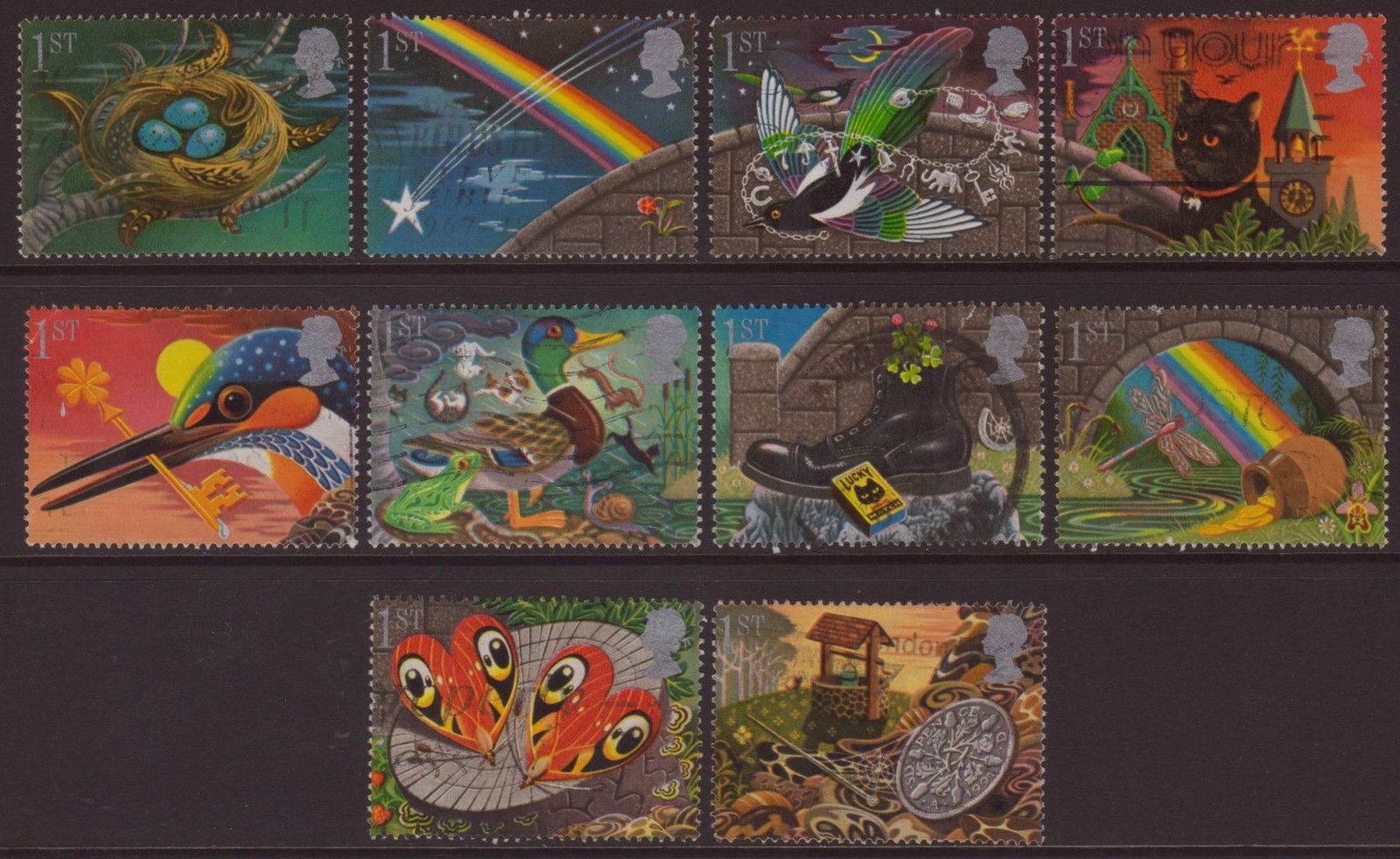 1991 GB - SG1536-45 - Greetings Lucky Charms Singles (10) VFU