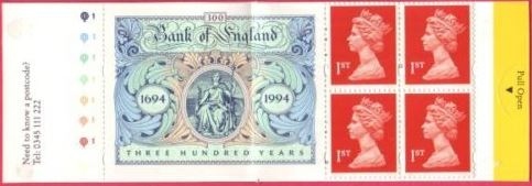 1994 GB - HB7 - 4 x 1st (Q) + Bank of England Label Bklt Cyl Q1