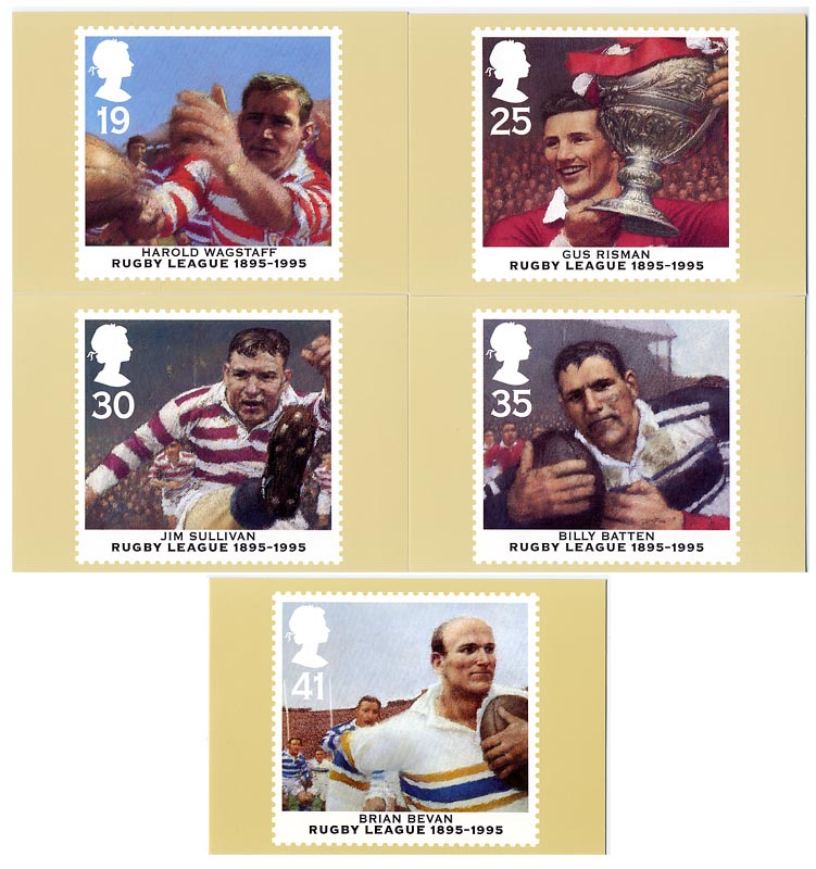 1995 GB - PHQ 174 - Centenary of Rugby League - Set (5) MNH