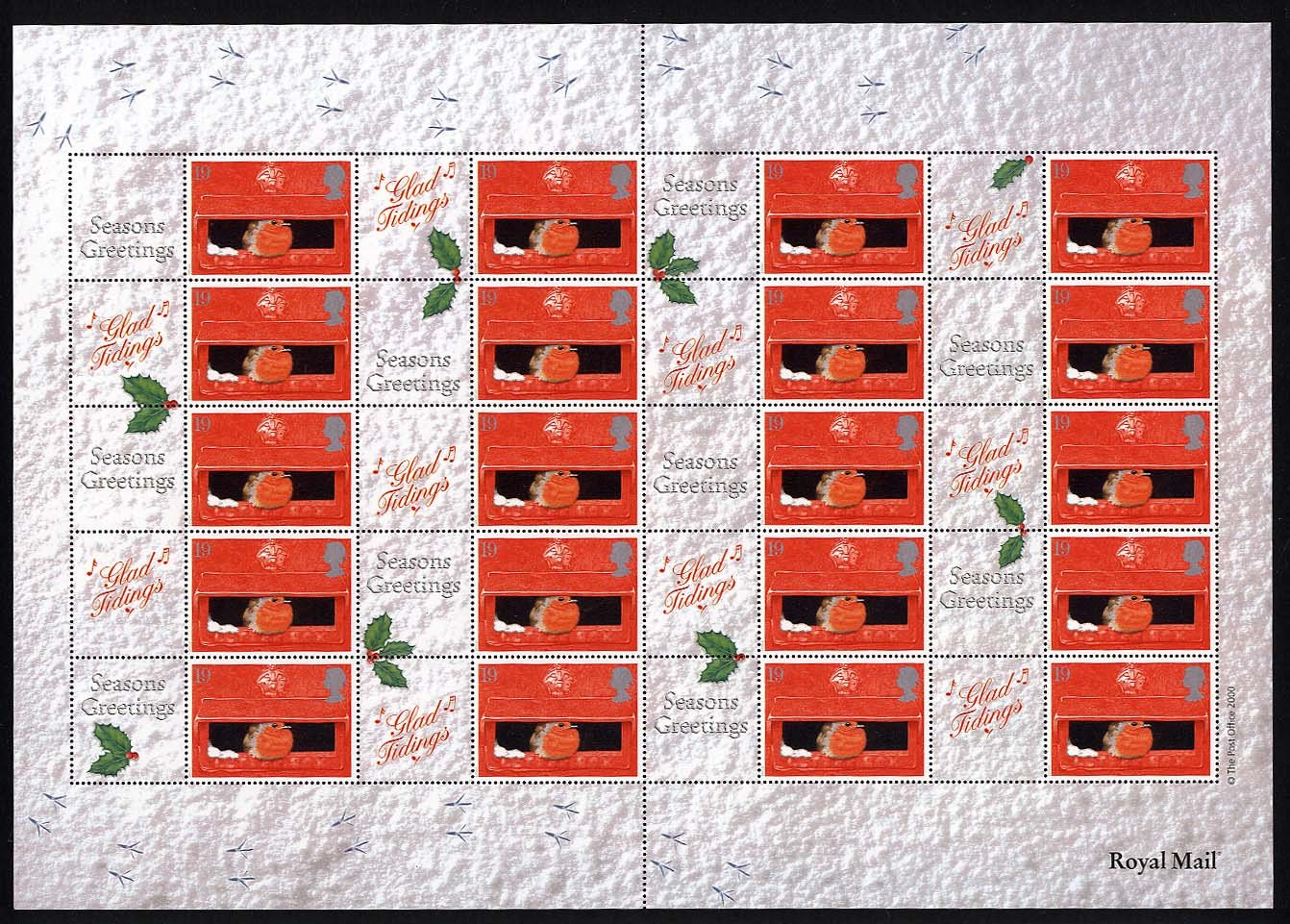 "2000 GB - LS2 - ""Xmas Robins"" Smiler Sheet (20) * SCARCE * MNH"
