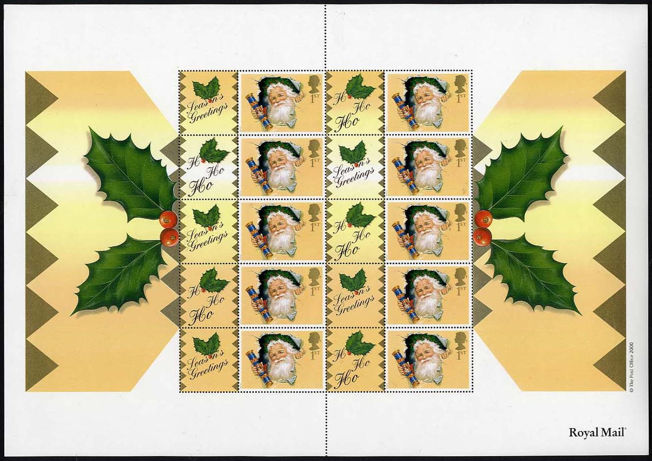 "2000 GB - LS3 - ""Santa"" Smiler Sheet (20) * SMALL Bends * MNH"