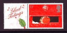 2000 GB - LS2 - Xmas Robins - Single+Label from Smiler Sheet MNH
