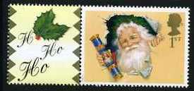 2000 GB - LS3 - Father Xmas - Single+Label from Smiler Sheet MNH