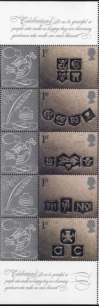 2001 GB - SG2182-6 Occasions Smiler Set of 5+Lbls frm LS4 ML MNH