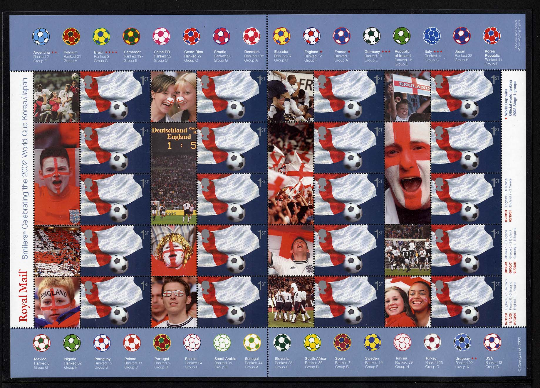 "2002 GB - LS8 - ""World Cup"" Smiler Sheet (20) MNH"