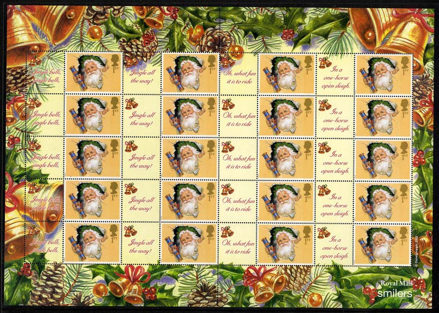 "2002 GB - LS10 - ""Christmas"" Smiler Sheet (20) MNH"