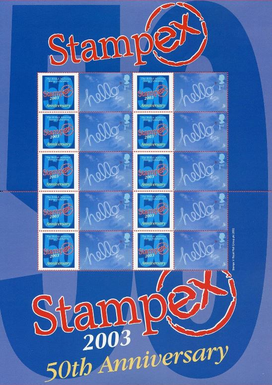 2003 GB - BC-010 - Stampex Spring 50th Anniv Smiler Sheet MNH