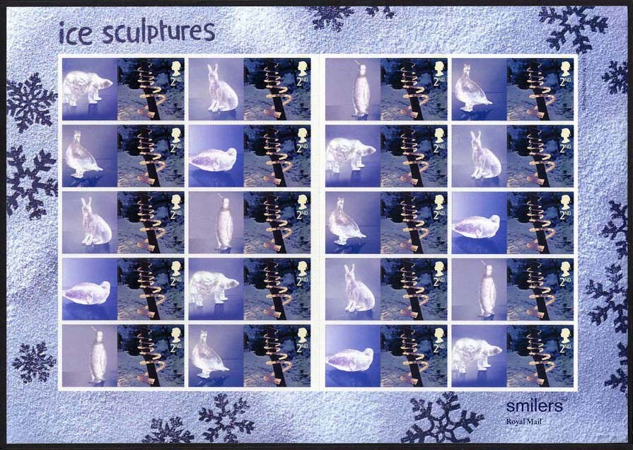 "2003 GB - LS15 - ""Xmas Ice Sculptures"" 2nd Smiler Sheet (20) MNH"