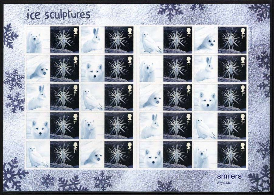 "2003 GB - LS16 - ""Xmas Ice Sculptures"" 1st Smiler Sheet (20) MNH"
